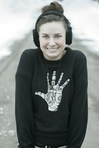 wool Lucky Brand sweater - love livea and give necklace - ear muffs Ugg earrings