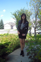 Zara jacket - Zara shirt - American Apparel skirt - Zara boots