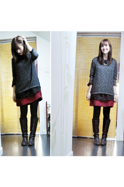 black Zara boots - red Zara dress - charcoal gray Urban Outfitters sweater