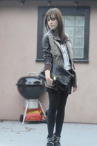 dark brown Zara coat - black Zara boots - black Zara bag - white Zara t-shirt