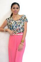 bubble gum palazzo pants pants - aquamarine blouse