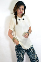 ivory collar blouse - dark gray edhardy watch - gray leopard print pants