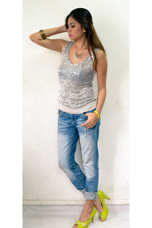 silver sequined top - blue distress denim pants - lime green zipper detail heels