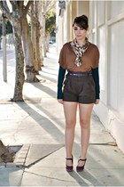 clockhouse sweater - Mango shorts - Zendra vest - Carolina Boix heels