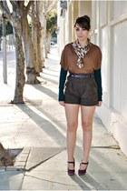 clockhouse sweater - Mango shorts - Zendra vest - Carolina Boix heels