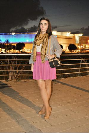 H&M skirt - pull&bear jacket - Dunnes bag - Massimo Dutti blouse - Dunnes heels