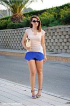 Xaro sastre bag - PERSUNMALL shorts - Marypaz wedges - romwe top