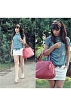 sky blue denim Stradivarius blouse - red Dunnes bag - cream BLANCO heels