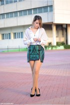 Fashion Union skirt - clockhouse shirt - Kiabi vest