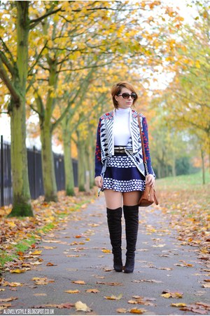 OASAP cardigan - new look boots - Steve Madden bag - OASAP skirt - Primark belt