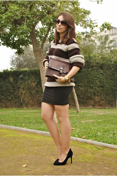 clockhouse sweater - Dunnes bag - clockhouse skirt - Atmosphere heels