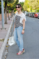OASAP blouse - Salsa Jeans jeans - BLANCO bag - Marypaz wedges - OASAP necklace