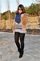 clockhouse coat - Dunnes boots - chicnova leggings - clockhouse scarf