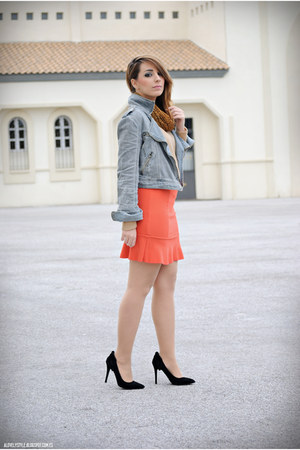 vjstyle skirt - Pull & Bear jacket - vjstyle top - Atmosphere heels