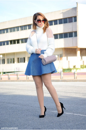 Chicwish sweater - BLANCO bag - Chicwish skirt - Atmosphere heels