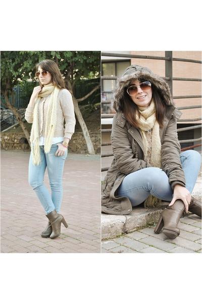 clockhouse coat - OG boots - clockhouse jeans - Dunnes blouse - Savida cardigan