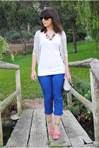 BLANCO pants - Dunnes bag - Shana top - Savida cardigan - Red Hot heels