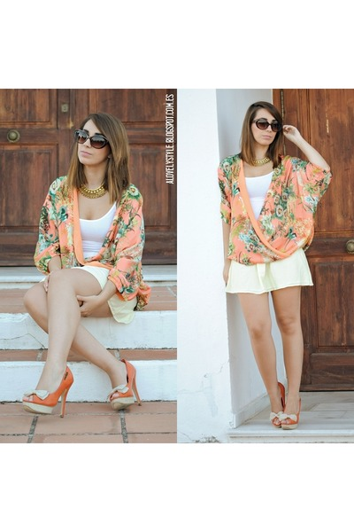Kiabi top - clockhouse skirt - romwe necklace - Mia Rock heels