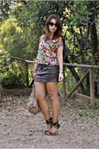 Pull & Bear skirt - Camaeu bag - Sfera wedges - H&M top