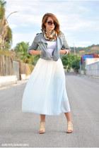 PERSUNMALL skirt - Pull & Bear jacket - Kiabi t-shirt - BLANCO heels