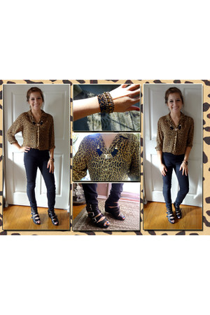 leopard Ralph Lauren blouse - H&M shoes - Rue 21 necklace - H&M pants
