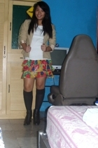 blazer - Zara t-shirt - skirt - socks - boots