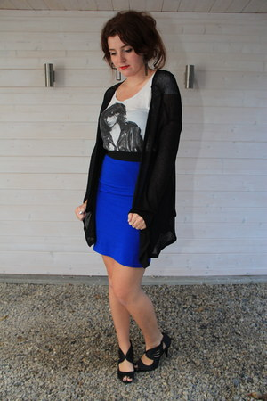 blue H&M skirt - white H&M shirt - black H&M vest - black asos earrings