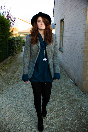 black H&M hat - black H&M boots - teal new look sweater - black H&M leggings