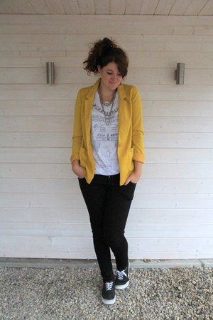 yellow H&M blazer - white H&M shirt - black c&a pants