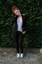 black Zara blazer - black c&a pants - silver H&M top - silver new look sneakers