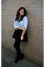 Light-blue-h-m-blouse-black-h-m-skirt-black-new-look-wedges