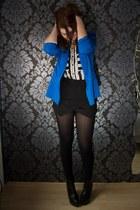 blue thrifted vintage blazer - black Primark shorts - white Pimkie blouse