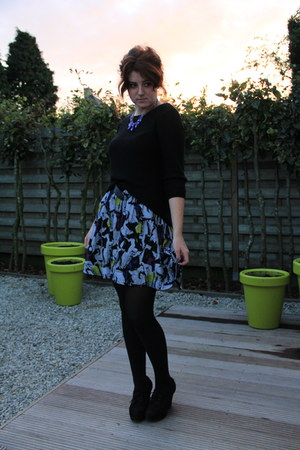 periwinkle H&M skirt - black Zara sweater - black new look wedges