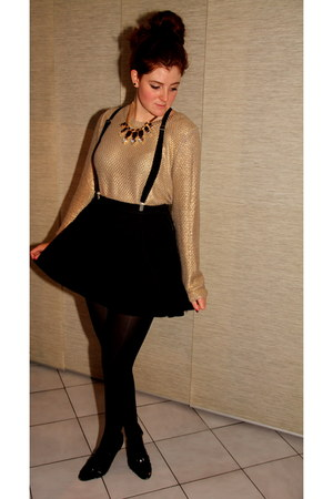 black new look wedges - mustard H&M sweater - black H&M skirt