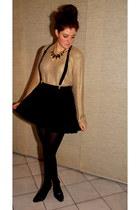 black new look wedges - mustard H&M sweater - black H&M skirt