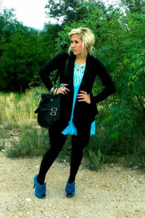 blue Zara dress - black Forever 21 cardigan