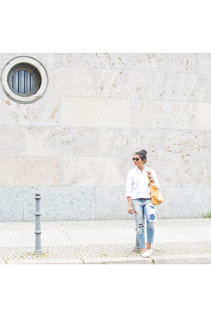 ann taylor shirt - American Eagle jeans - Bebe jacket - goyard bag
