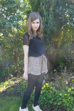 black George At Asda blouse - bronze new look shorts - nude new look wedges