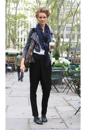 black jacket - black pants - blue scarf - black shoes