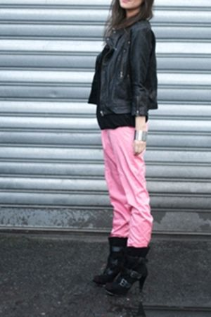 black jacket - black boots - pink pants