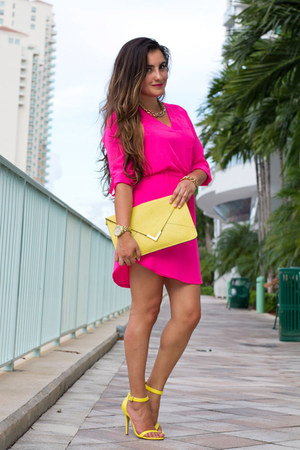 hot pink neon Love Shopping Miami dress - yellow clutch Love Shopping Miami bag