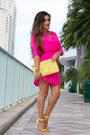 Hot-pink-neon-love-shopping-miami-dress-yellow-clutch-love-shopping-miami-bag