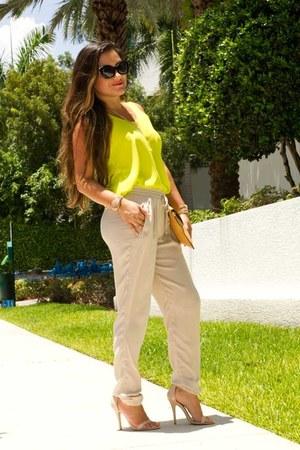 lime green neon Love Shopping Miami top - camel clutch Love Shopping Miami bag