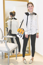 white Zara shirt - black Sfera leggings