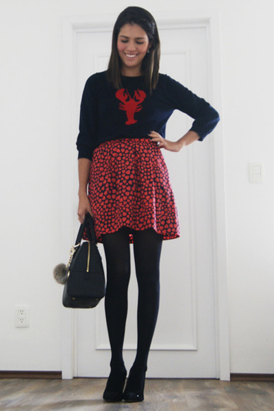 navy JCrew sweater - black Zara shoes - black Michael Kors bag - red JCrew skirt
