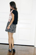 pink H&M blouse - dark gray Forever 21 skirt - silver Aldo loafers