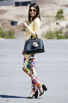 light yellow Ralph Lauren sweater - amethyst Anamac pants - black Schutz heels