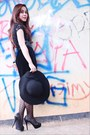 Black-bysi-dress-black-hat-black-topshop-stockings-black-accessories