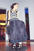 black skirt - black Topshop top - black shoesone heels