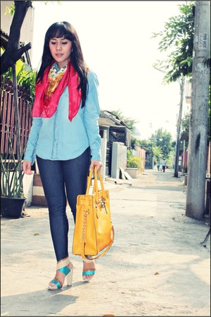 red scarf - blue denim shirt Mango shirt - mustard Michael Kors bag